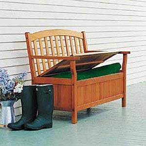 Patio Furniture Bench Eucalyptus Wood Storage