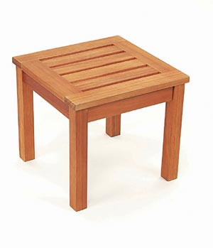 Patio Furniture Table End Eucalyptus Grandis Square Natural
