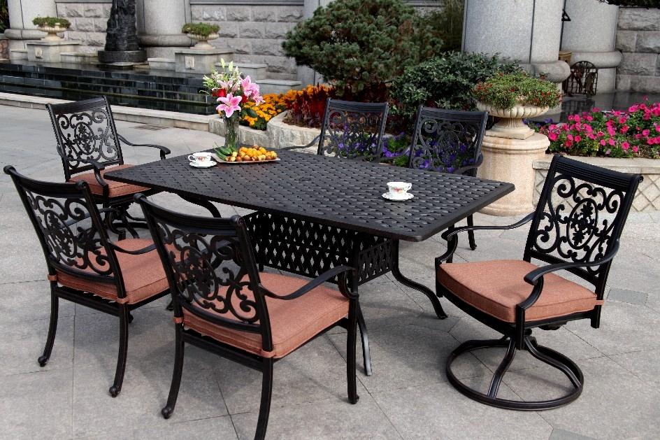 patio furniture dining set cast aluminum 72 rectangular