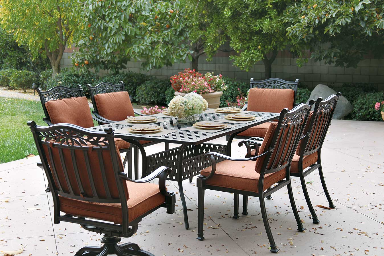"Patio Furniture Dining Set Cast Aluminum 72"" Table 7pc Charleston"