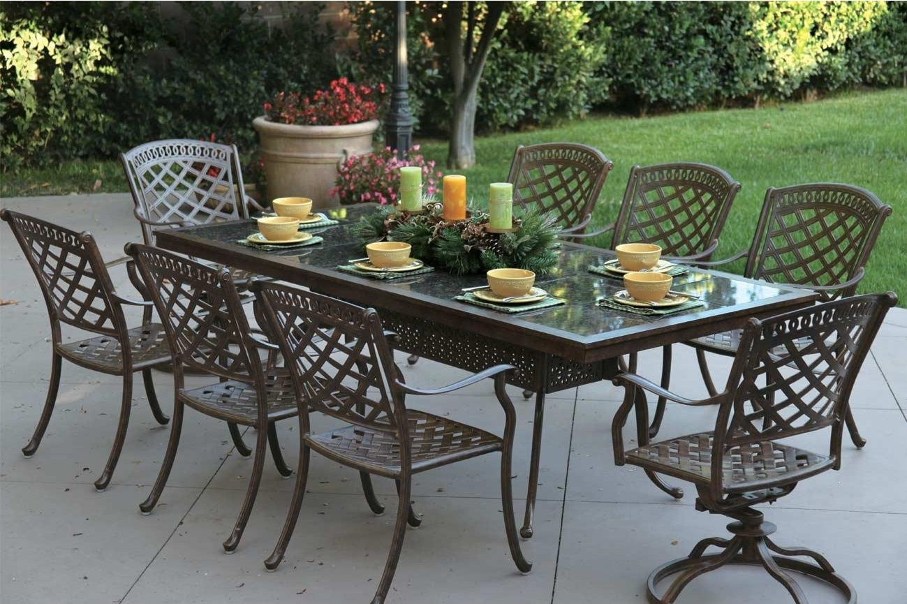 Patio Furniture Cast Aluminum Dining Set91 Rectangular Granite Top Tabl