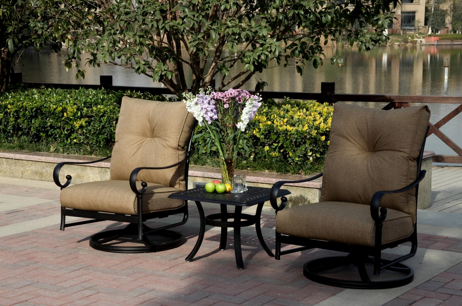 patio furniture cast aluminum rocker set swivel 3pc santa