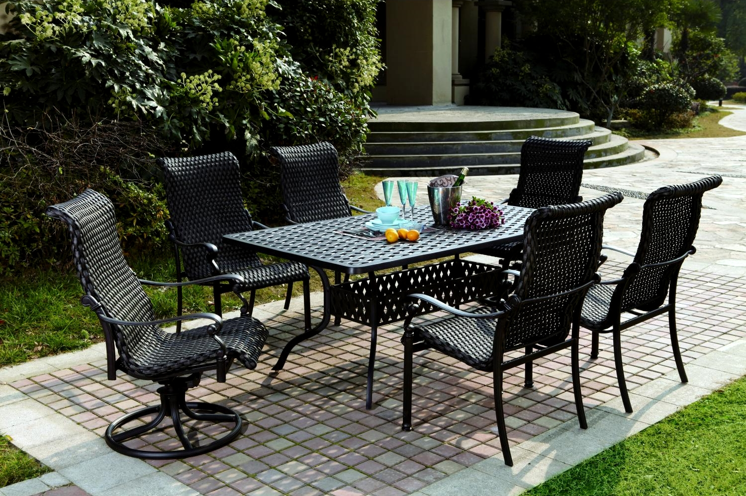 Patio Furniture Wicker Aluminum Dining Set 7pc Victoria