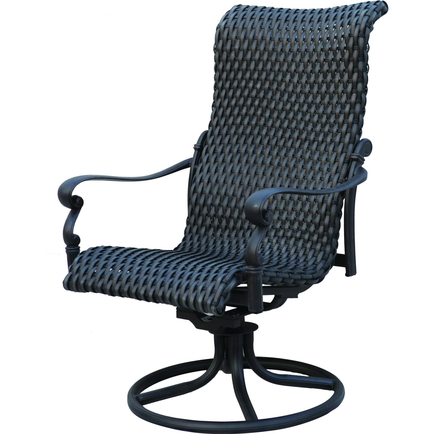 Patio furniture wicker aluminum rocker swivel chair set 2 for Outdoor swivel chairs
