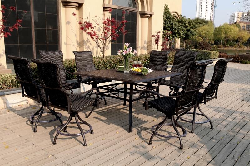 Patio furniture wicker aluminum dining set pc victoria