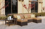Patio Furniture All Weather Wicker Deep Seating Set Sectional 5pc Vienna