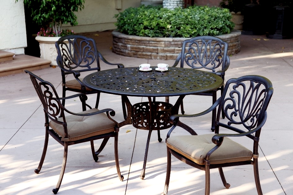 sets patio furniture dining set cast aluminum 48 round table 5pc