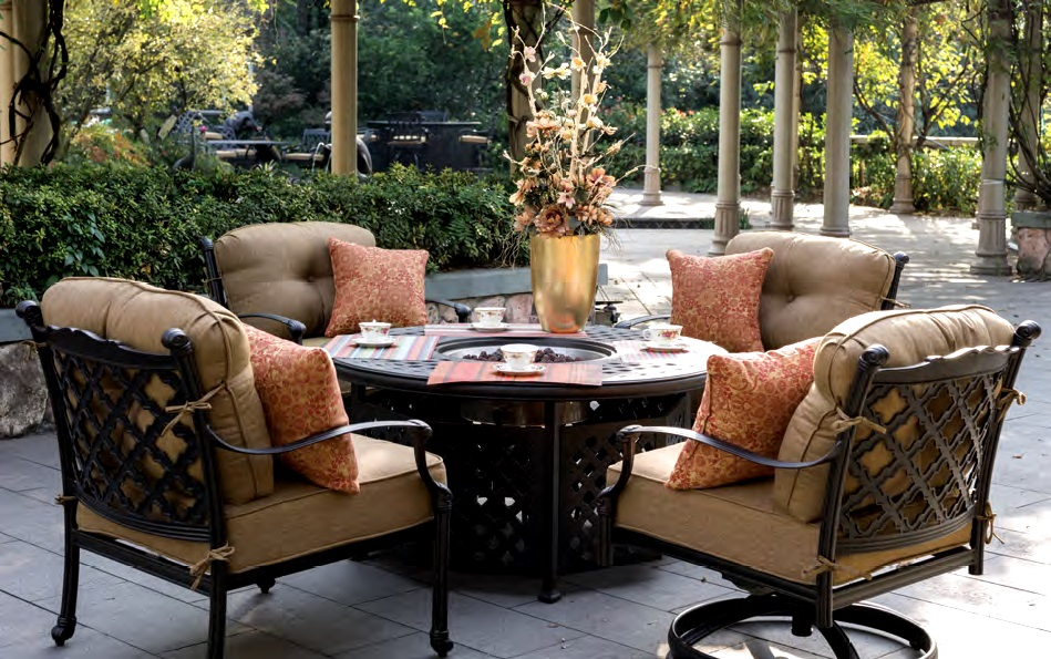 Patio Furniture Deep Seating Chat Group Cast Aluminum Fire
