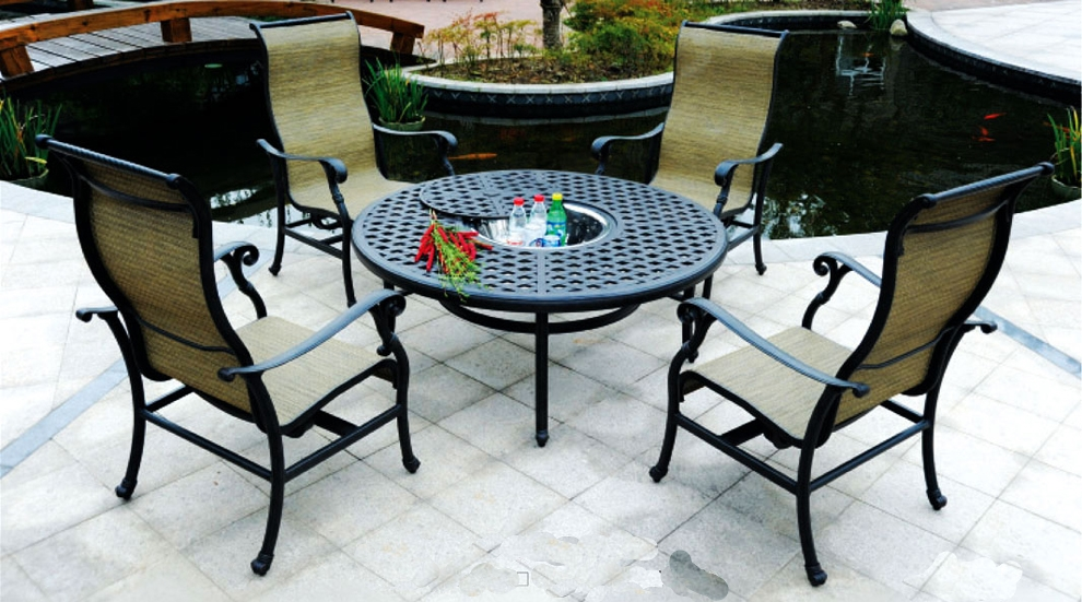 Patio Furniture Cast Aluminum Sling Chat Group Ice Bucket