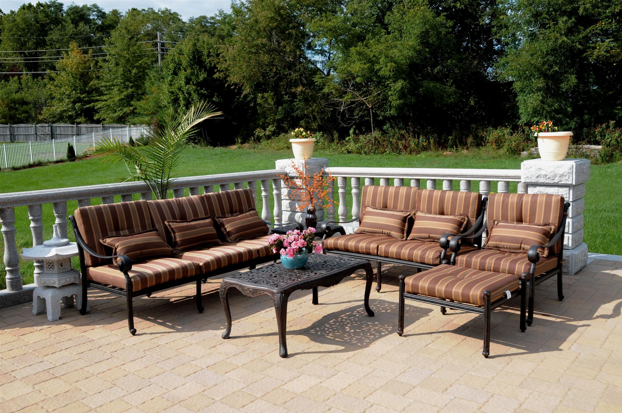Patio furniture deep seating set cast aluminum 6pc dwl for Deep seating patio furniture