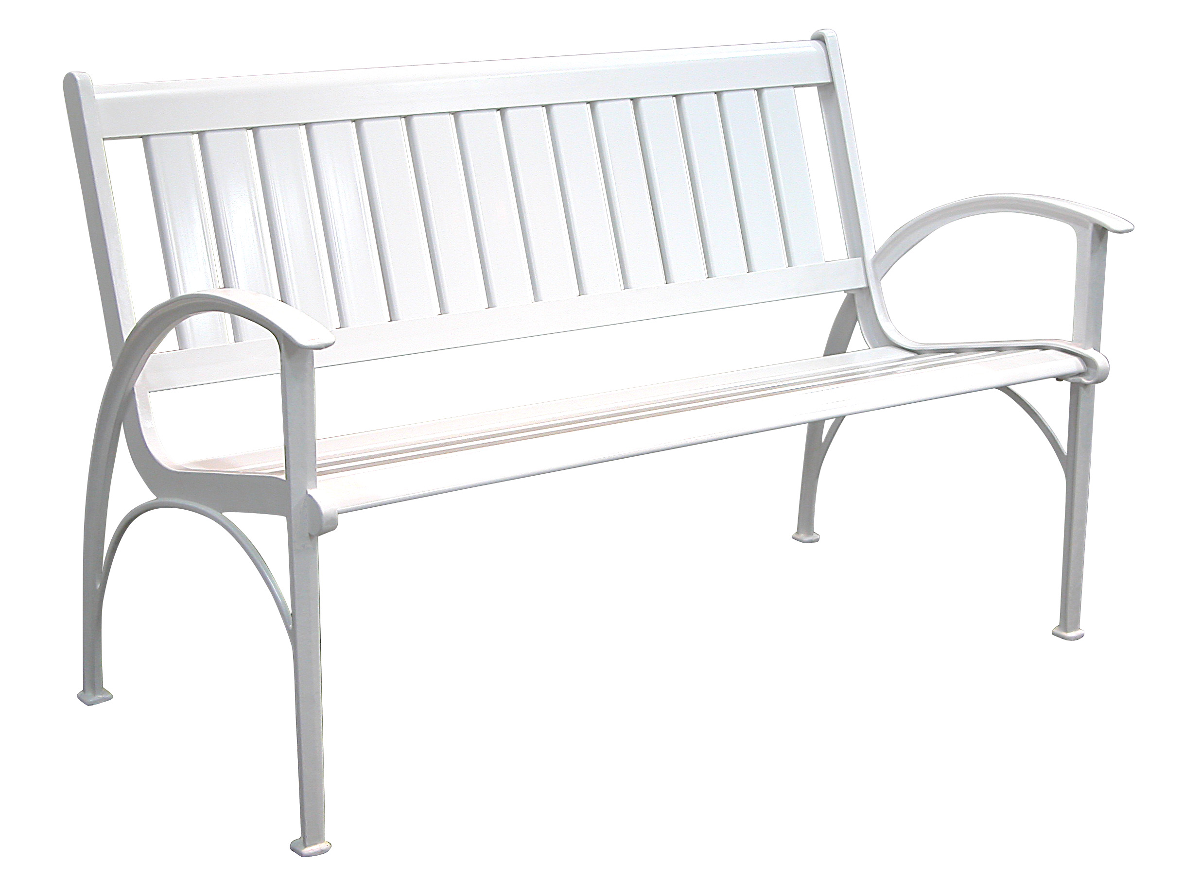 Patio Furniture Bench Contemporary Cast Aluminum White