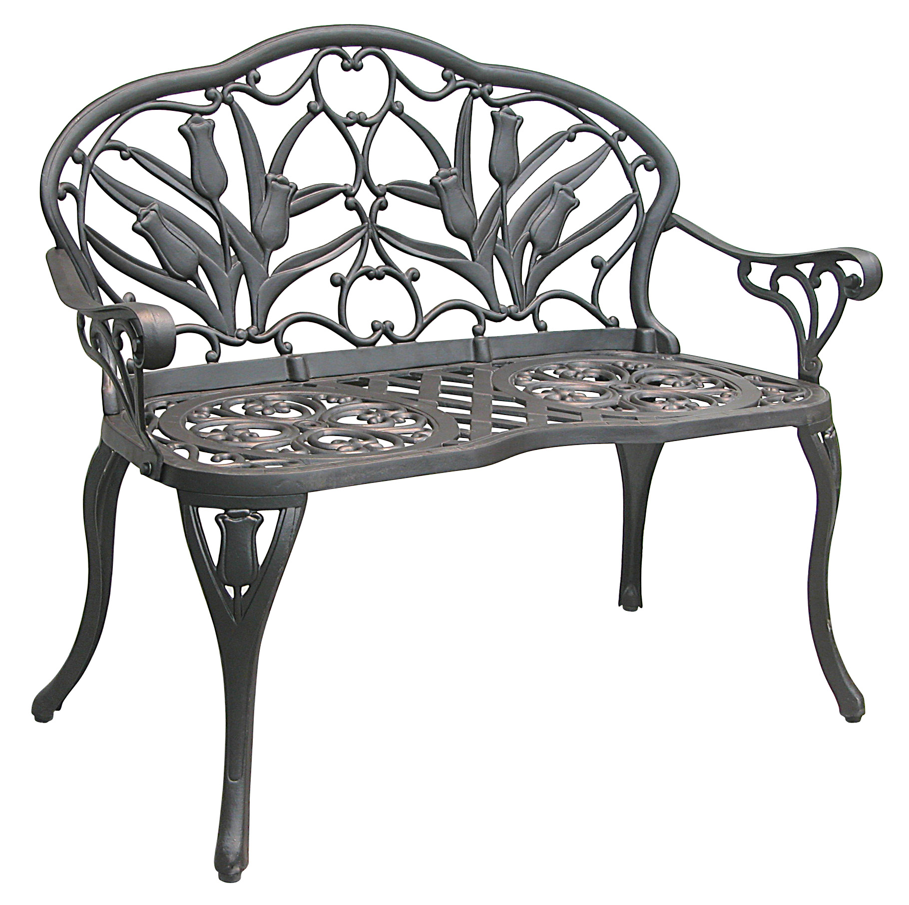 Patio furniture bench cast aluminum iron loveseat tulip for Outdoor furniture bench