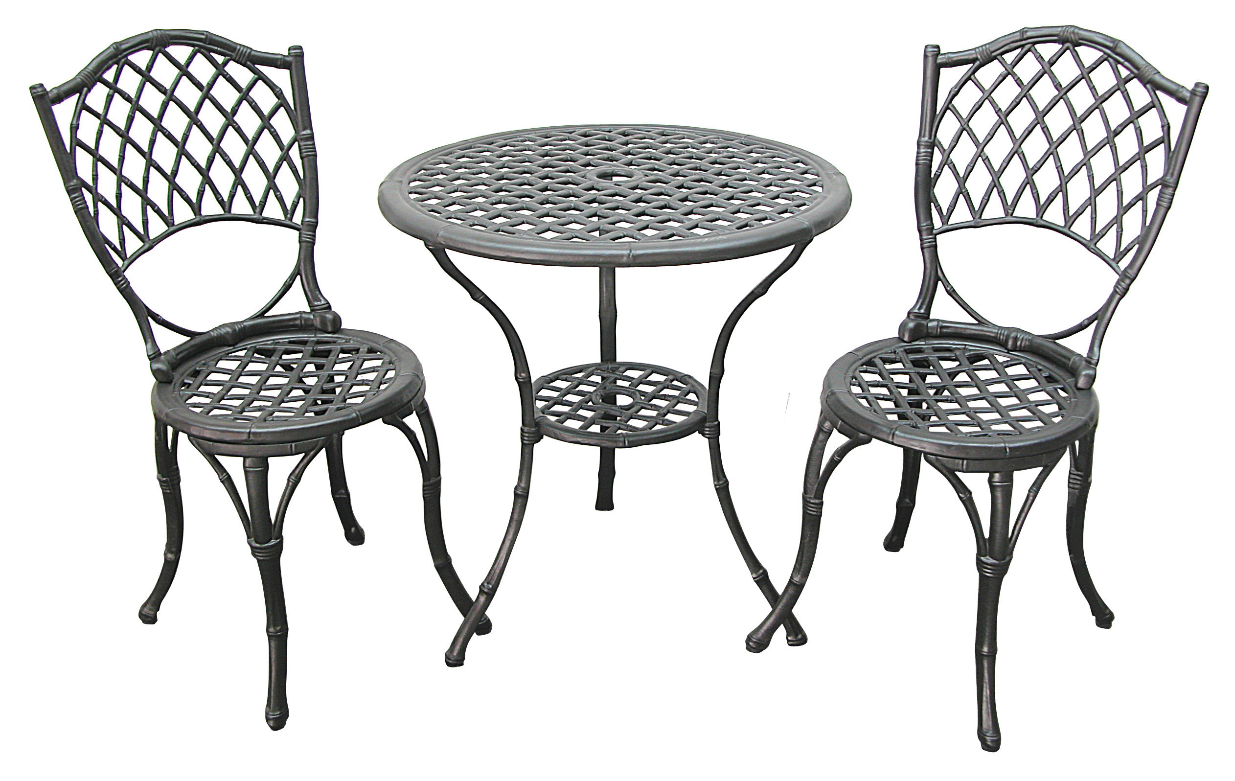 Patio Furniture Bistro Set Cast Aluminum Iron Black Bamboo